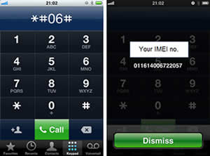 Find your IMEI number by dialing *#06#
